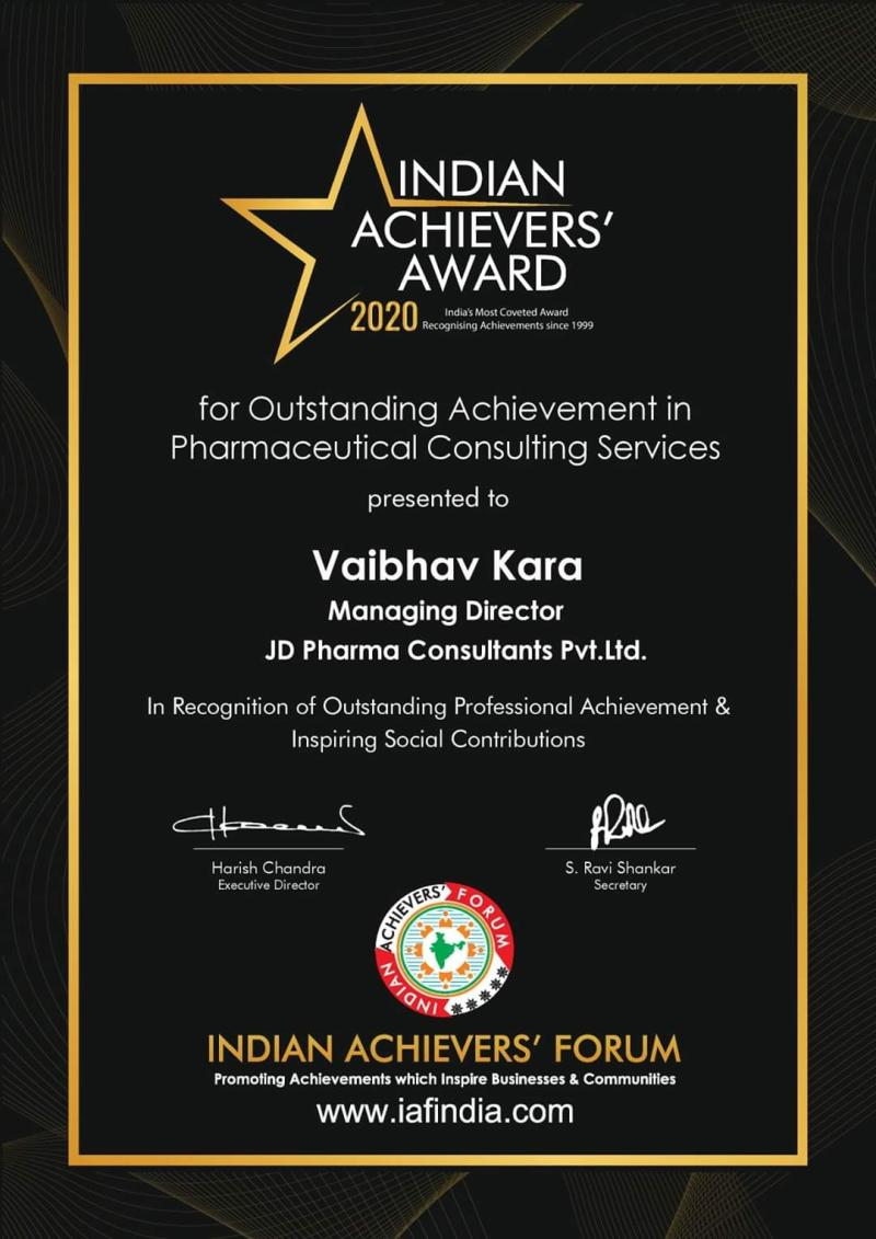 Award for outstanding services in Pharmaceutical consulting